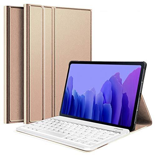 USIRIY Funda con teclado retroiluminado para Samsung Galaxy Tab A7 de 10,4 pulgadas, delgada, desmontable, con Bluetooth, ultraligera, magnética, función atril, color dorado