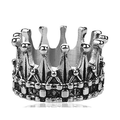 6Wcveuebuc Anillo vintage de acero inoxidable para hombre y mujer, corona de rey real, plata retro caballero, cruz corona, anillo de joyería de moda