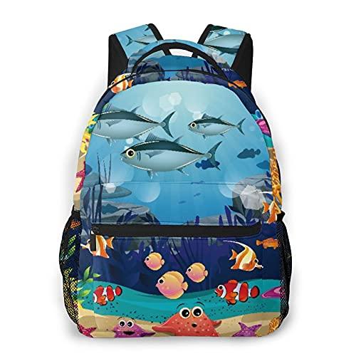 AMIGGOO Mochila informal ,Blue Ocean Tropical Fish Coral Mundo submarin, Mochila de viaje con cremallera , Para negocios, escuela, trabajo, portátil Mochila 16 'X11.5 X8