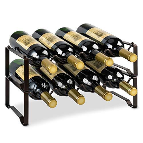 Auledio 2-Tier Stackable Wine Rack, Metal Bottle Organizer Wine Storage Holder Freestanding Shelf Hold 8 Bottles for Kitchen Countertop Pantry Cabinet, Bronze