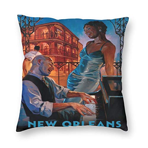 American Travel New Orleans Jazz Posters Pillowslip Unique Throw Pillow Cover Creative Cushions Case Covers with Zipper Home Decorative Print Pillowcase for Sofa Couch
