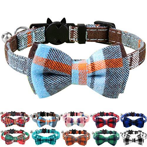 Joytale Collar para Gato con Pajarita & Cascabel, Collares Cierre Seguridad para Gatos,Neblina Azul