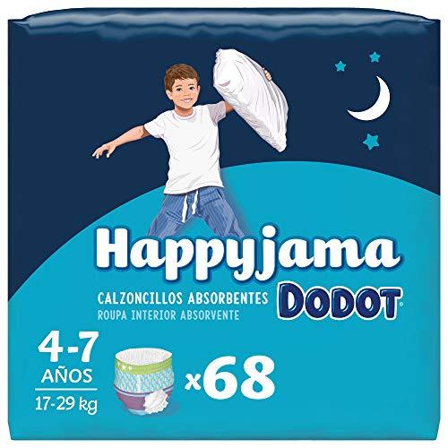 Dodot Pañales HappyJama para Niño 4 -7 Años (17-29 kg), 68 Unidades, Pañal con Protección Anti-Fugas Durante la Noche