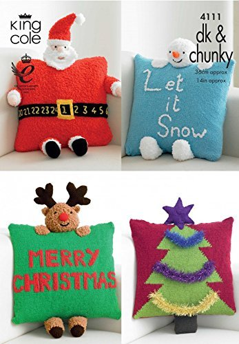 King Cole Christmas Novelty Cushions Big Value Knitting Pattern 4111 DK, Chunky by King Cole