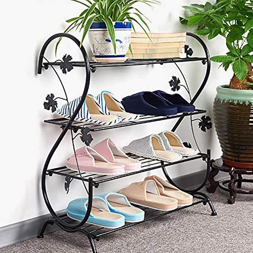 M-YN Zapatero Apilable y expandible de 4 Niveles con estantes Ajustables, Organizador de Almacenamiento de Zapatos for pasillos con Marco de Metal (Color : Black)