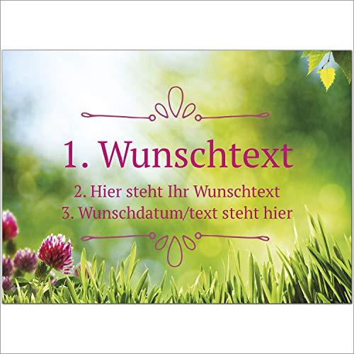 8 x Personalisierte Gruß-Karten mit Ihrem Wunschtext, Motiv Sommer Wiese, als Einladung, Save The Date, Dankeskarte oder Geburtstagskarte, DIN A6