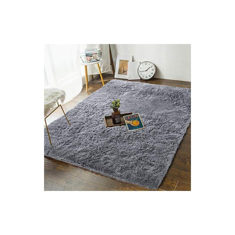silk flower arrangements andecor soft fluffy bedroom rugs - 4 x 5.9 feet indoor shaggy plush area rug for boys girls kids baby college dorm living room home decor floor carpet, grey