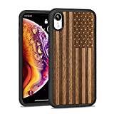 JUBECO iPhone XR Wood Case,Wooden Slim Anti-Shock Shockproof Cover for iPhone xr 6.1 (US Flag-Walnut)
