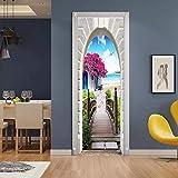 SXINYF Pegatinas de Puerta 3D Etiqueta engomada de la Puerta del jardín Mural Pared autoadhesiva Papel calcomanía Art Deco móvil Impermeable Mural Cartel Escena Ventana Puerta habitación77x200cm