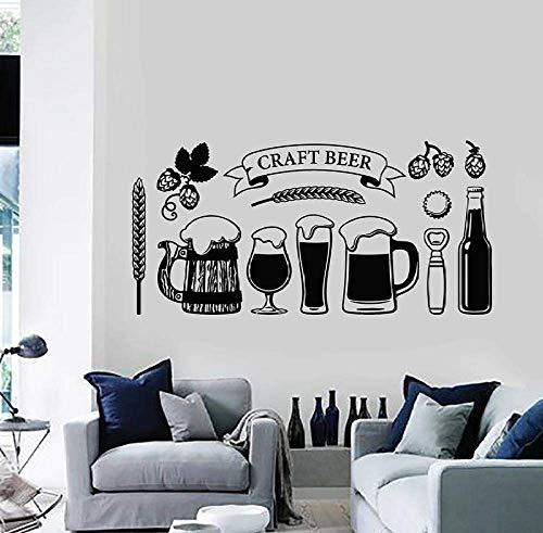Wandaufkleber Abziehbilder Handwerk Bier Glas Tasse Alkohol Getränk Pub Bar Innendekoration Vinyl Fenster Gerste Bier Kunst Wandbild Ornament 61X30 cm