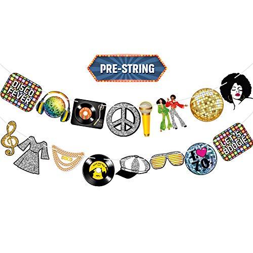 Happy 70s Banner Disco Party Dekoration Disco Fever 1970s, Back to 70s Zeichen Let's Boogie Ausschnitte für Rock'n'Roll 70's Szenen Setter Disc Musik Hintergrund I Love 70s Tisch Hintergrund
