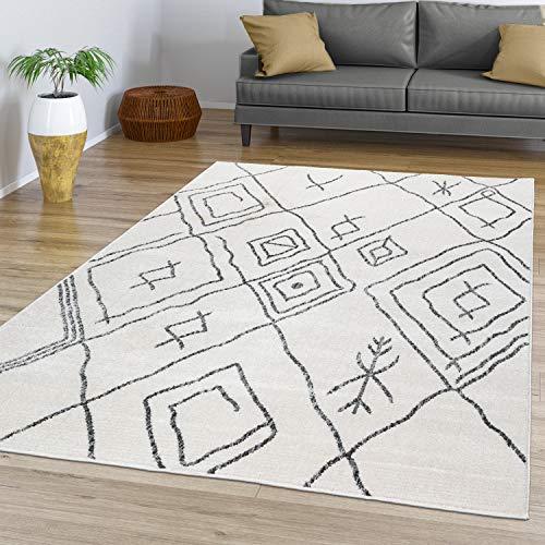 TT Home Alfombra Salón Pelo Corto con Diseño Boho Escandinavo Abstracto Moderno, Color:Naturaleza, Tamaño:200x290 cm