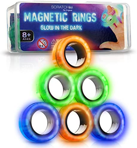 SCRATCHIEZ Magnetic Rings Fidget Toys for Adults and Children Glow in The Dark Stress Relief product image