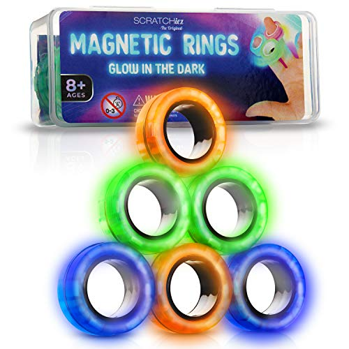 SCRATCHIEZ Magnetic Rings Fidget Toys for Adults and Children – Glow in The Dark Stress Relief Magnet Toys – Set of 6 Fidget Rings with Carrying Fidget Box – Green, Orange and Blue