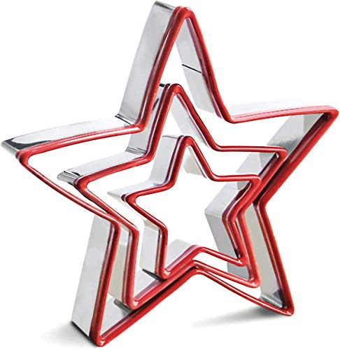 """RUNHUAPPY 3 Pack Star Cookie Cutters Set, 5"""", 3"""", 2 """" Stainless Steel Biscuit Molds Fondant Cake Cookie Cutter Set Pastry Mold for Star Linzer and 3D Christmas Tree Cookies"""