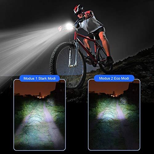 Antimi Fahrradlicht Led Set, LED Fahrradbeleuchtung mit 2 Licht-Modi, StVZO-Zulassung, Frontlicht und Rücklicht/Rotlicht, IPX5 Regen- und stoßfest Fahrrad Licht 2600mAh - 2