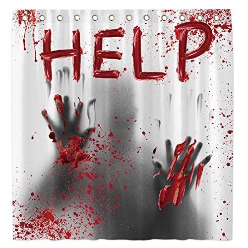Allenjoy 72x72 Inch Halloween Help Me Bloody Hands Shower Curtain for Bathroom Sets Scary Home Bath Decor Decoration Customizable Durable Waterproof Fabric Machine Washable Curtains with 12 Hooks