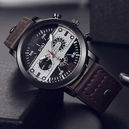 analog uhren herren Drei-Augen-Sechs-Pin-Paar Mode Mattgürtel Uhr Analog Quarz Runde Persönlichkeit arabische Digitaluhr(Brown)