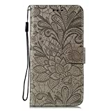 JZ Honor Play4 Lace Flowers Protective Wallet Funda For para Huawei Honor Play4 with Wrist Strap Flip Cover - Gray