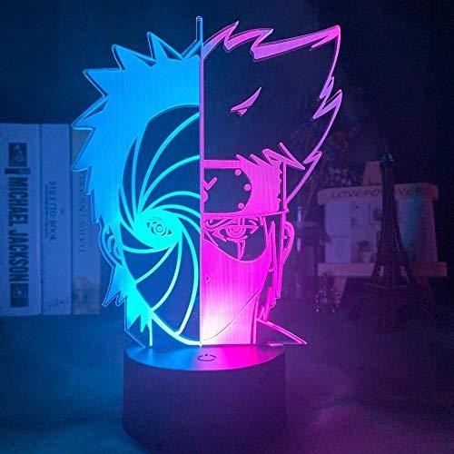 ADIS Doble Media Cara Obito Uchiha y Kakashi Hatake Naruto Night Light 3D LED Lámpara de Mesa para niños Regalo de cumpleaños decoración de Dormitorio Junto a la Cama