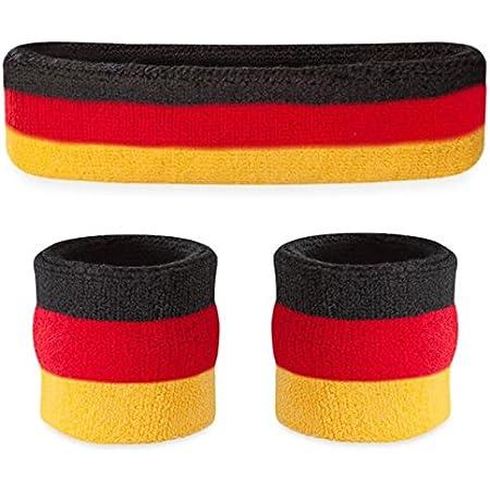 Headband Wristband Striped Socks Set for Men Women Unisex
