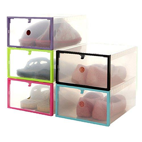 Cajas de zapatos con tapas, organizador de zapatos transparente apilable, contenedor de almacenamiento versátil para zapatos y manualidades, tamaños hasta UK 7.5, transparente,Random distribution