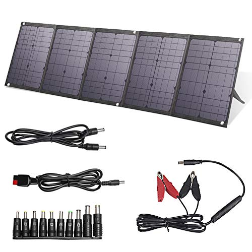 BigBlue 100W Portable Solar Panels Kit with PD 60W Type C, Dual USB Ports(Fast Charging) and 18V DC Output, Solar Phone Charger for Power Station, iPhone, iPad, Some Laptops, Camera, GPS etc.