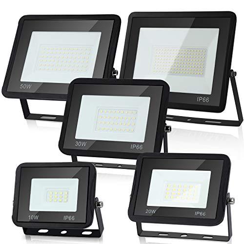 Hengda Foco LED para exteriores (5 unidades, 20 W, IP66, resistente al agua, 1700 lm, luz blanca cálida, 3000 K, para patio trasero, entrada, puertas, garaje, pasillo, jardín)