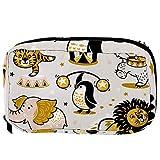 Bolsas de cosméticos de dibujos animados de circo, animales, león, tigre, pingüino, divertidas, prácticas, bolsa de viaje Oragniser bolsa de maquillaje para mujeres y niñas