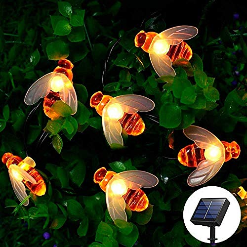 Solar Garden String Lights, [60 LED] Honey Bee Fairy Lights 8 Modes 9M/30Ft Waterproof Outdoor Solar Powered Decorative Light for Garden, Patio, Christmas, Party Decor(Warm White) [Energy Class A++]
