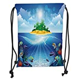 LULUZXOA Gym Bag Printed Drawstring Sack Backpacks Bags,Aquarium,Deserted Tropical Island with Palm Trees Various Exotic Sea Animals and Plants,T