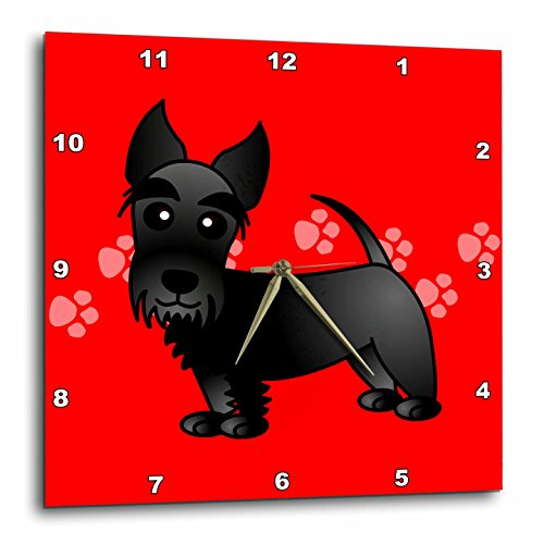 Cute Black Scottie-Cartoon Dog-Red with Pawprints-Wall Clock, 15 by 15-Inch