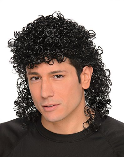 Men's Black Curly Mullet Wif=g