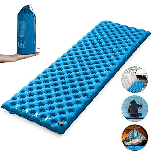 LAKY Camping Sleeping Pad Mat - Self-Inflating, Lightweight, Best Sleeping Pads for Backpacking, Hiking, Traveling, Inflatable Durable Waterproof Air Mattress Compact Pad, Blue