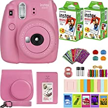 FujiFilm Instax Mini 9 Instant Camera + Fujifilm Instax Mini Film (40 Sheets) Bundle with Deals Number One Accessories Including Carrying Case, Color Filters, Kids Photo Album + More (Flamingo Pink)