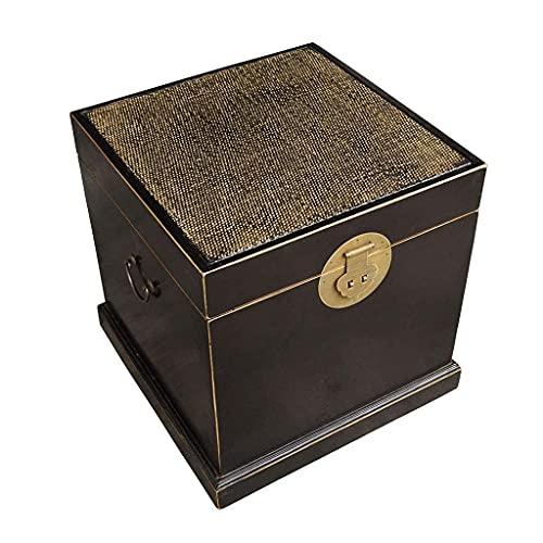 Nueva caja de almacenamiento de LP dibujada a mano, cafetería, libro, casa, gabinete de almacenamiento de discos de vinilo de madera, caja de almacenamiento decorativa (color: C, tamaño: 48 48 50 cm)