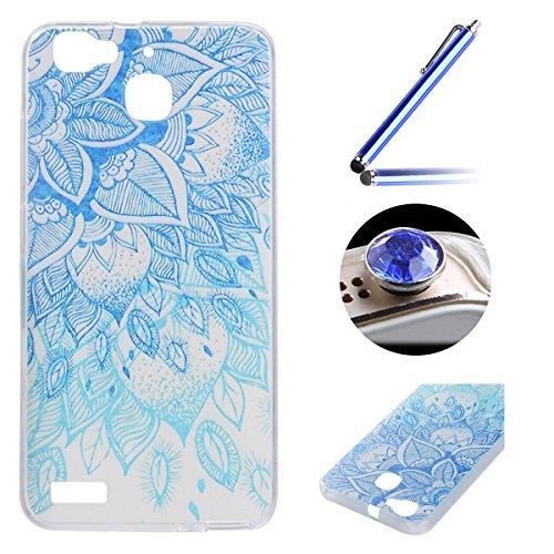 Huawei Enjoy 5S TPU Coque étui,Huawei Enjoy 5S Ultra-minces Silicone Doux Housse,Etsue Joli élégant Paon Fleur Peint Motif Design Souple Gel avec Transparent Cadre de Housse Coque Coquille pour Huawei Enjoy 5S + 1x Bleu style + 1x Bling poussière plug (couleurs aléatoires) - Paon Fleur