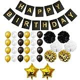 Decoraciones Fiesta 33 Piezas Doradas, Blancas y Negras - Pompones, Globos de Látex y de Papel de Aluminio y Pancartas para Celebraciones de Cumpleaños y Fiestas - Decoraciones para Chicas, Chicos