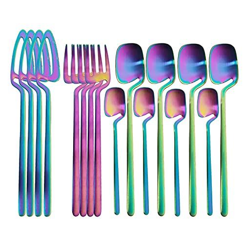 16 unids arco iris vajilla conjunto cuchara tenedor cuchillo decoración de mesa cubiertos conjunto cocina mate oro vajilla conjunto postres sopa de café (Color : A)