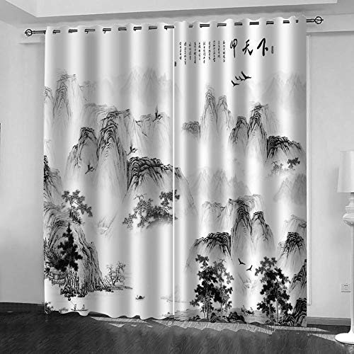 LUOWAN Cortinas Salon Paisaje de Tinta Blanco y Negro 100 x 160cm...