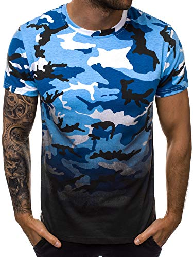 OZONEE Herren T-Shirt T Shirt Tshirt Kurzarm Kurzarmshirt Tee Top Sport Sportswear Rundhals U-Neck Rundhalsausschnitt Aufdruck Motiv Print 777/7903T BLAU L