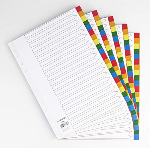 5er Set 20-teiliges Register/Trennblätter aus buntem stabilem PP, DIN A4 praktischem Deckblatt aus stabilem Papier zum Beschriften. Trenn-Blätter für die Ordner-Organisation im Büro