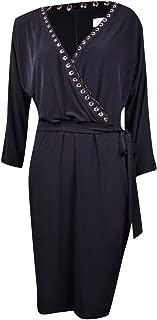 Calvin Klein Women's Belted Grommet Trim Faux-Wrap Jersey Dress (10, Black)
