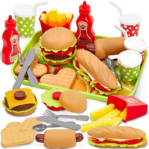 Buyger Pretend Play Food Set with Tray Hamburger Hotdog Fries Role Play Take Apart Toys for Kids Boys Girls