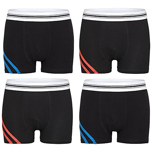 Kids Fashion Lounge - Jungen Boxershorts - aus 95% Baumwolle. Schwarze Boxer für Jungs im coolen schlichten Streife Design. Größe 146/152