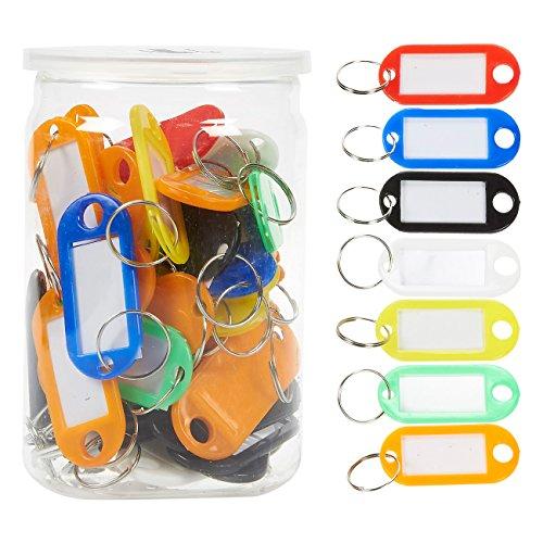 Juvale 50 Stuks Set Sleutelhanger Cover Plastic Tag - Klein formaat Multi-Colored Sleutelhanger Cover Tag Set voor Bagage, Sleutels, Huisdieren, Memory Sticks - 2.5 X 1.8 Inches