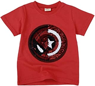 Girls Boys T-Shirts Children Magic Sequin Reversible Cotton Casual Summer Clothing Fashion T Shirt Kids Tops Tee 1-7 Years