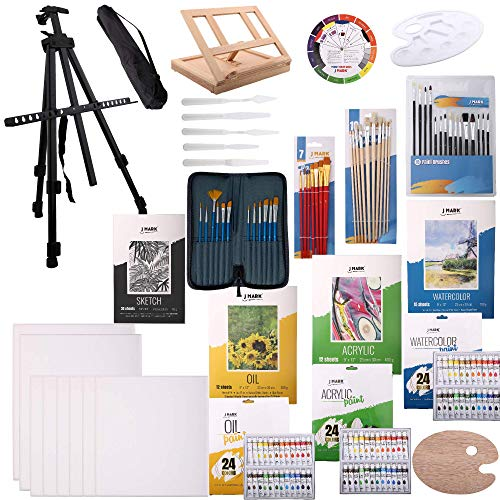 139pc Deluxe Artist Painting Set for Adults - Includes Adjustable Aluminum and Wood Easels, Brush Sets, Watercolor, Acrylic and Oil Sheets and Paints, Sketch pad, Tools, Palettes, Various Canvas