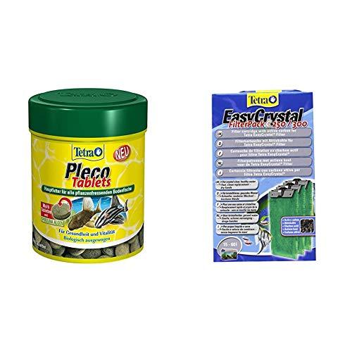 Tetra Pleco Tablets – Nährstoffreiches Hauptfutter für alle pflanzenfressenden Bodenfische, Verschiedene Größen & EasyCrystal Filter Pack C250/300 (geeignet für Aquarien von 30 Liter), 3 Stück