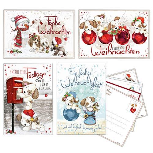 20 Weihnachtskarten, Postkarten im Nostalgie Stil, Weihnachtspostkarten, 17,5 x 12 cm 4 versch. Designs